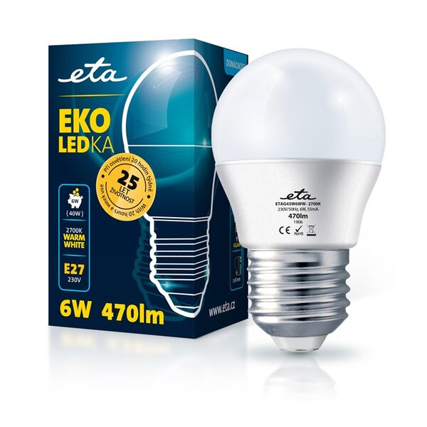 LED Lampe ETA EKO LEDka mini globe 6W, E27, warmweiß