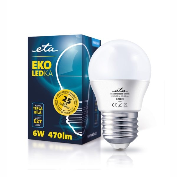 LED-Lampe ETA EKO LED Mini Globe, 6 W, E27, warmweiß