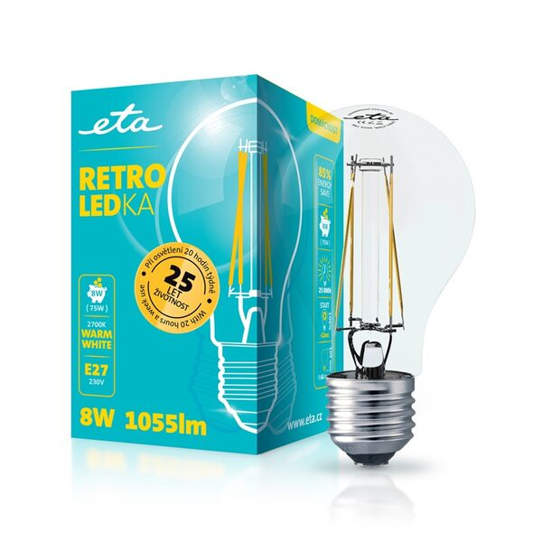LED Lampe ETA RETRO LEDka Klasik filament 8W, E27, warmweiß