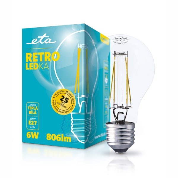 LED-Lampe ETA RETRO klassische LED, 6 W, E27, warmweiß